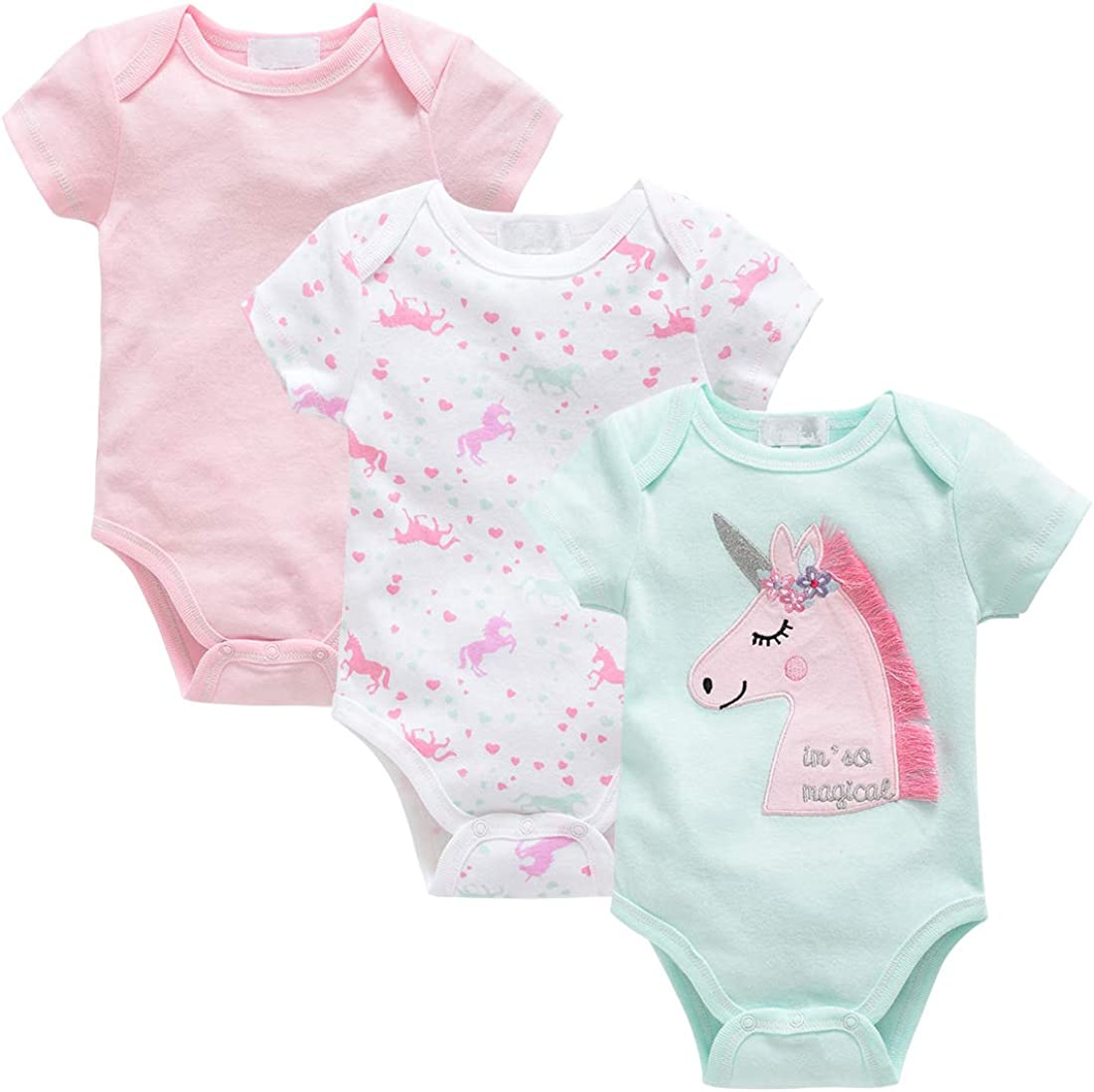 3 Pack 0-12 Month kavkas Baby Bodysuit Cute Short Sleeve Onesies Coverall Soft Cotton Undershirt for Toddler Infant Boys and Girls