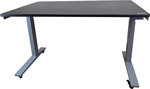 Rise UP Dual Motor Electric Standing Desk 48×30 Black Desktop Premium Ergonomic Adjustable Height sit Stand up Home Office Computer Desk Table Motorized Powered Modern Furniture Small Standup Table