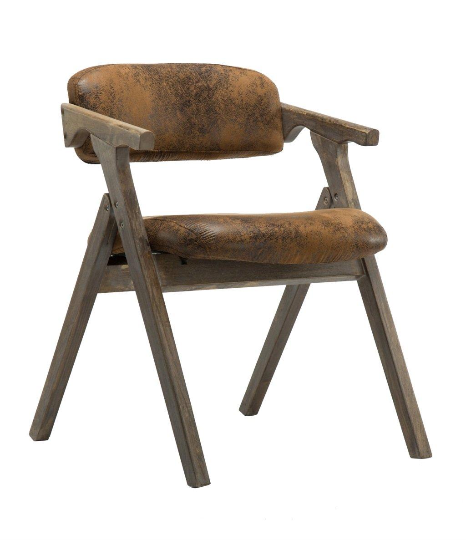 布製カバー付きソリッドウッドダイニングチェア背もたれとアームレスト付き折り畳み式椅子デスクチェアーとしてパッド入りアームチェアスツールラウンジシートビンテージレトロデザイン (色 : Retro flannel) B07F8N7FFD Retro flannel Retro flannel