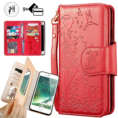 Purse Mirror Case (iphone 8 Plus Purse Case,iphone 7 Plus Wallet Case,Auker Trifold 9 Card Holder Vintage Book Leather Folio Flip Magnetic Protective Wallet Case with Mirror&Cash Pocket for iphone 7 Plus/8 Plus(Red))