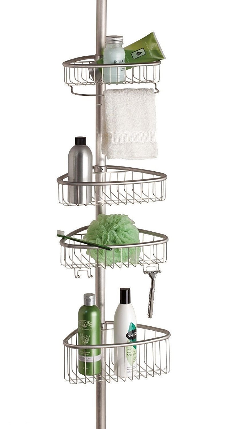 Non Rust Bathroom Telescopic Corner Shelf Storage 4 Tier Shower Caddy Organiser (Matte Silver) 1st Choice 5056089512670