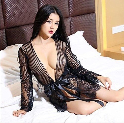ZC&J La tentación atractiva del cordón de la ropa interior para adaptarse batas de manga larga pijama camisón transparente grande de las yardas,black,one size Black