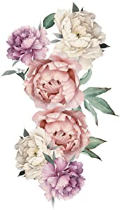 Peony Rose Flowers Wall Sticker,Peel & Stick Removable Wall Art Decals for Sofa Background Living Room Bedroom Kitchen Nursery Room Decorations,Vintage Pink
