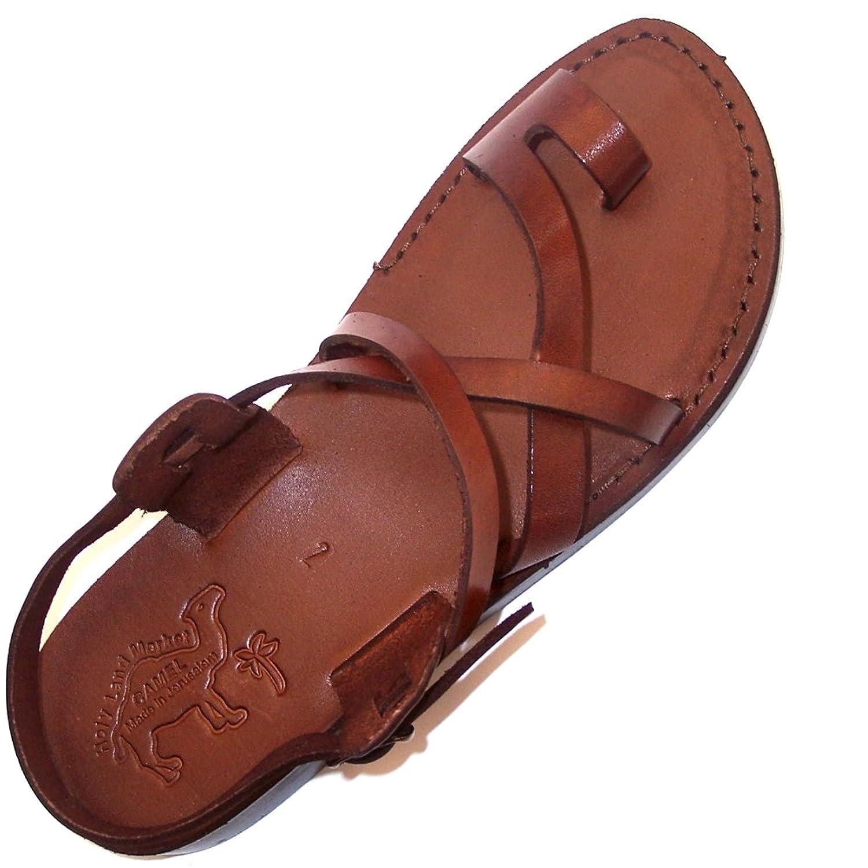 Holy Land Market Camel Mens Genuine Leather Biblical Sandals  Flip Flops  MCGC9UDLT