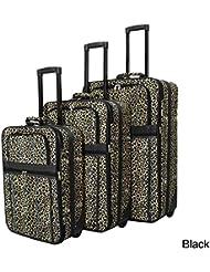 All-Seasons Leopard Prints 3-Piece Expandable Upright Luggage Set