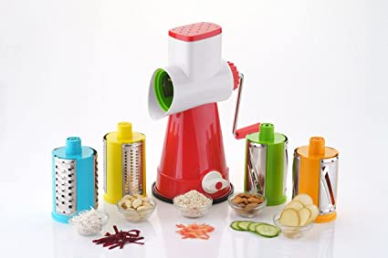 Sargaware 4 in 1 Drum Grater Shredder Slicer, for Vegetable - Fruits - Chocolate - Dry Fruits - Salad Maker with 4 Different Attractive Drums, 4 Pieces