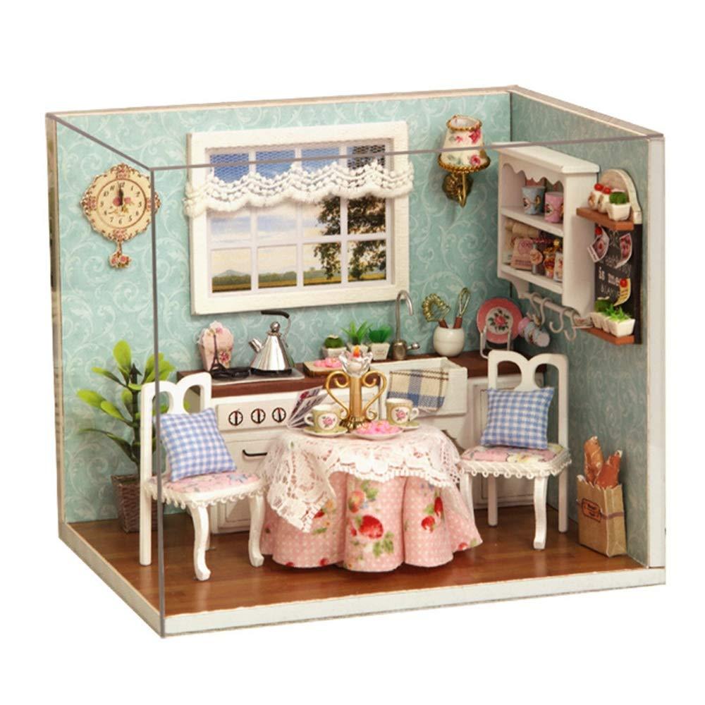 Multi-colGoldt 15.111.613.1cm Yangxuelian DIY Holzpuppenhaus Handcraft Miniatur Kit Küchenecke Modellmöbel (Glückliche Küche (Farbe   Multi-ColGoldt, Größe   15.1  11.6  13.1cm)