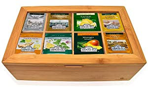 Tea Bags Sampler Assortment Box ( 60 Count) - Perfect Variety Pack in Bamboo Gift Box - Gift for Family, Friends, Coworkers