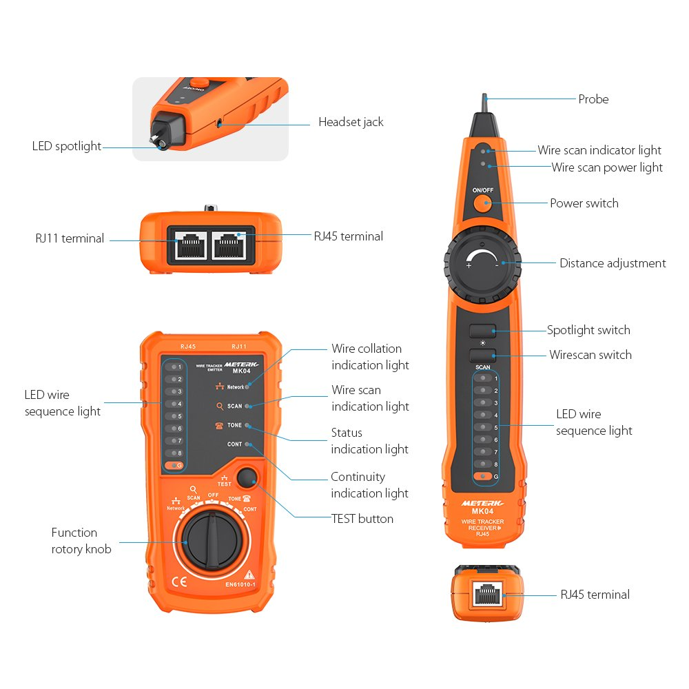 Meterk Wire Tracker RJ11 RJ45 Line Finder Handheld Cable Tester ...
