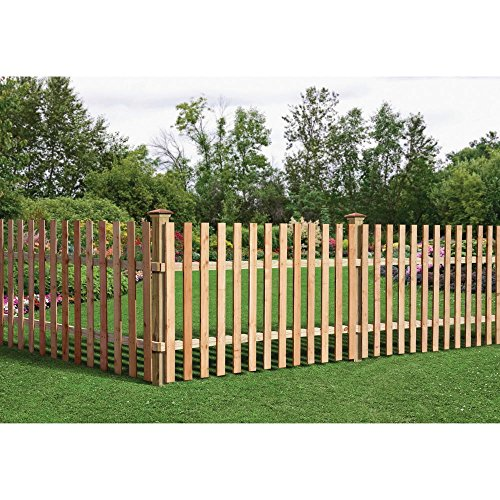 - 3-1/2 ft. x 8 ft. Western Red Cedar Spaced Picket Flat Top Fence Panel Kit