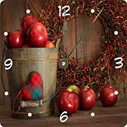 Rikki Knight Autumn Apples in Wood Bucket Design 8 Art Wall Clock