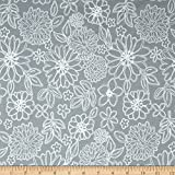 Art Gallery Fabrics Gossamer Jersey Knit Wire Flowers Fabric by the Yard, Foil