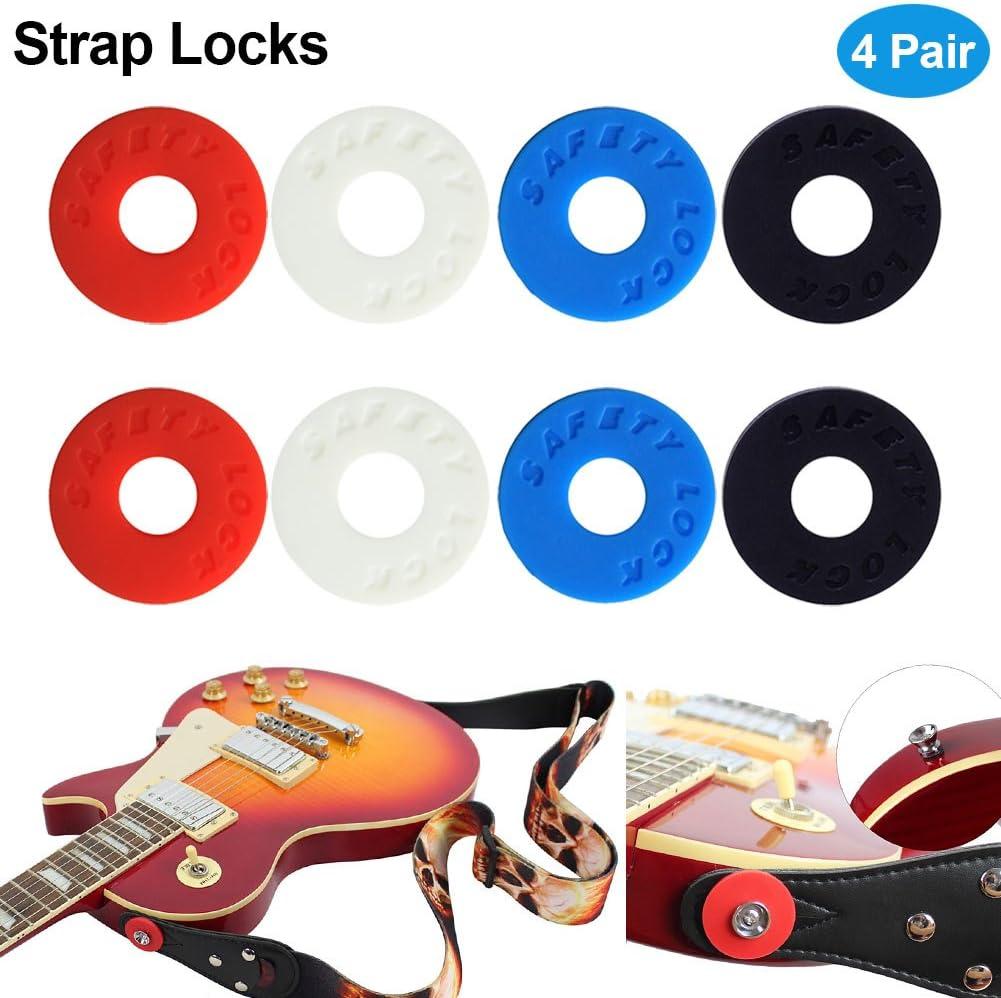 Espeedy Correa de la guitarra bloquea,8 piezas/Set de correas de guitarra bloques de silicona bajo bloqueo instrumentos musicales guitarras eléctricas partes y accesorios