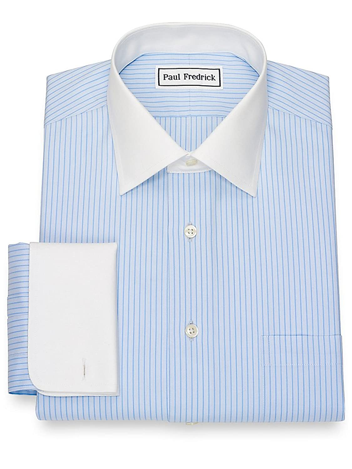 1920s Style Mens Shirts | Peaky Blinders Shirts and Collars Paul Fredrick Mens Non-Iron Cotton Stripe Dress Shirt  AT vintagedancer.com