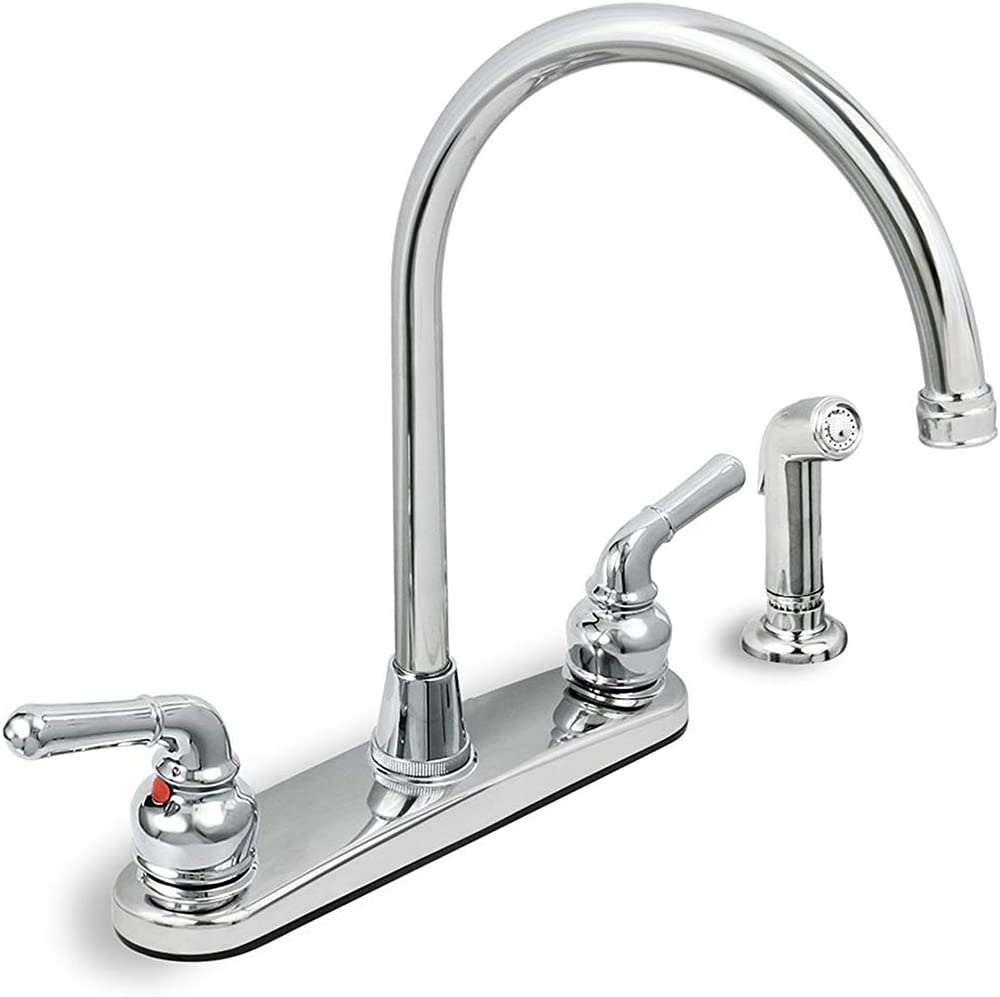 Highcraft 393ii Kitchen Faucet High Arc Swivel Spout Chrome Plated Finish Lead Free Construction Pull Out Side Spray Hose 2 Operate Metal Handle 2 2 Gpm Flow Rate Easy To Use Amazon Com