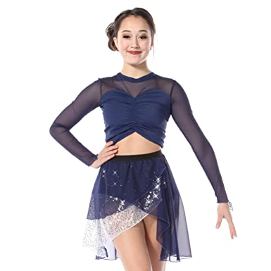 a5f26b792a03c6 Alexandra Collection Womens Sweetheart Long Sleeve Mesh Dance Costume Crop  Top Navy X-Small