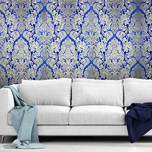 QUADRUPLE ROLL 113.52sq.ft(4 single rolls size) Slavyanski wallcovering washable Victorian pattern Vinyl Non-Woven Wallpaper gold yellow blue 3D textured stripe glitters metallic damask paste the wall ()