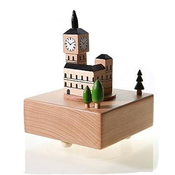 DOOLLAND Caja de Regalo de música de Madera, Figuras de Estilo Personalizado de Madera para