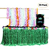 Aloha Happiness Hawaiian Leis Necklaces (Pack of 36) + 1 Green Grass Table Skirt (9ft) - Great Moana Birthday Party Supplies and Perfect Hawaiian Decorations to Create A Wonderful Luau Party