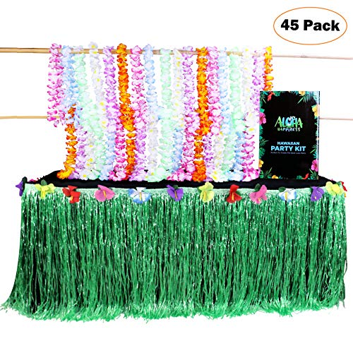 (Aloha Happiness Hawaiian Leis Necklaces (Pack of 36) + 1 Green Grass Table Skirt (9ft) - Great Moana Birthday Party Supplies and Perfect Hawaiian Decorations to Create A Wonderful Luau Party)