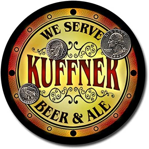 Kuffner Family Name Beer and Ale Rubber Drink Coasters - Set of 4