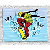 Youth Tapestry, Teenager Playing Skateboard on Street with Abstract City Background Circles Buildings, Wall Hanging for Bedroom Living Room Dorm, 60 W X 40 L Inches, Multicolor