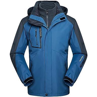 65ff37e8ec Zilee Men Ski Jacket Waterproof Warm Hooded Coat 3 in 1 Winter Windbreaker  Breathable Snow Suit Fleece Inner for Skiing Hiking Mountaineering Running   ...