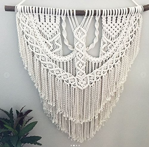 Macrame Wall Decor Hanging - Bohemian Home Geometric Art Decor - Beautiful Apartment Dorm Room Decoration-Macrame Curtain-Macrame Wedding Backdrop for Christmas & Holiday Decorations W 25