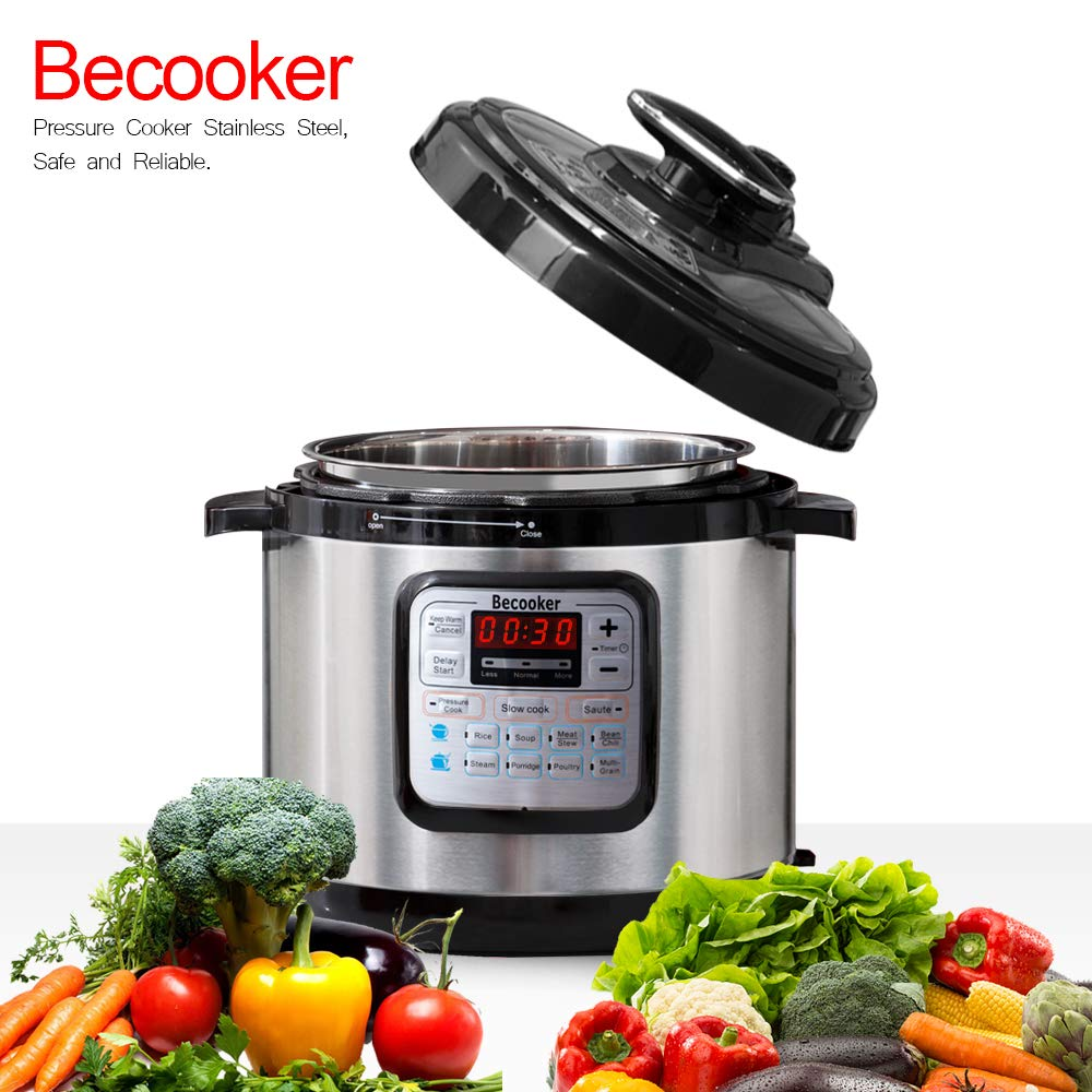 Becooker Use Programmable Pressure Cooker,LCD Display,Instant Cooking with Stainless Steel Pot, Multi-Cooker,Slow Cooker, Rice Cooker, Yogurt Maker, Egg Cooker, Sauté, Steamer, Warmer (4 Quart)