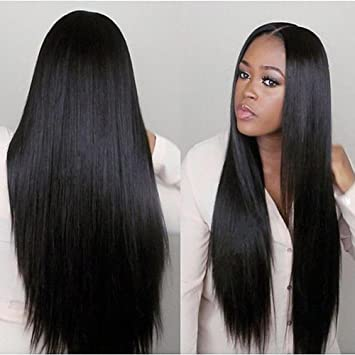 Middle Part 360 Lace Frontal Wigs Indian Virgin Hair Full Lace Human Hair  Wigs For Black 67c9e4a7d