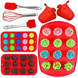 Joiedomi 8-Pieces Silicone Bakeware Set Including Muffin Cupcake Mold Baking Tray, Chocolate Candy Ice Molds, Gloves, Full Size Utensils - Tray, Spatula and Whisk! NO BPA!