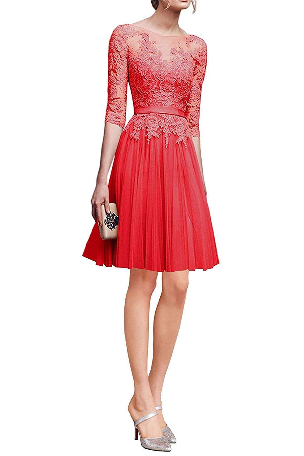 Red ZLQQ Woman's Half Sleeves Tulle Short Bridesmaid Dresses Lace Tea Length Evening Gowns