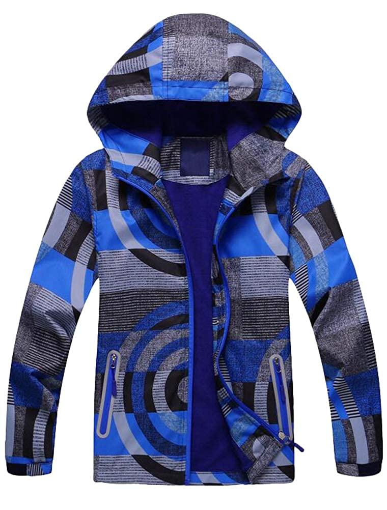 Mallimoda Big Boys Jacket with Fleece Liner Windbreaker Coat Outwear with Hat