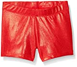 Gia Mia Dance Big Girls Metallic Short, Red, Medium