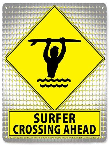 (SURFER funny metal street sign HAWAII beach / MANCAVE boys gift room wall decor 135)