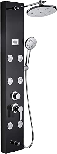ROVOGO Stainless Steel Shower Panel Tower System, Rainfall Shower, 6 Body Sprays Jets, Handheld and Bathtub Spout, Multi-function Bathroom Shower Column with Temperature Display, Black
