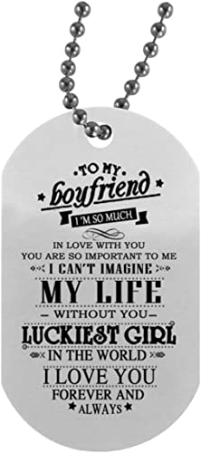 Customized Dog Tag For Boyfriend Ideas Necklace Military Men S Jewelry I M So Much In Love With You Best Birthday Gifts For Boyfriends On Christmas Birthday Gloss Finish Decoration Amazon Com