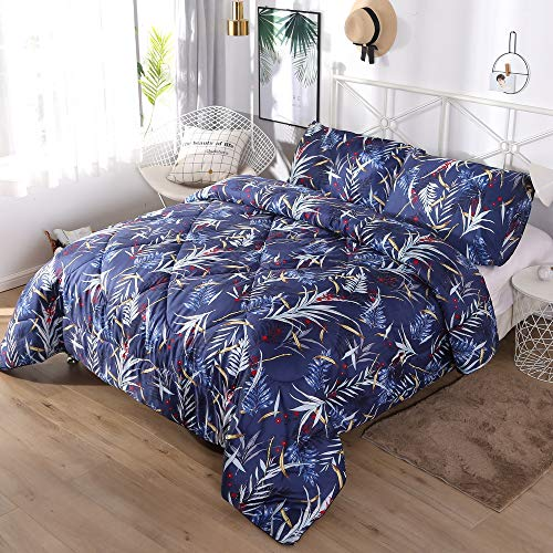 - IMIEE Leaves Print 3-Pieces Comforter Set,100% Cotton Fabric with Soft Microfiber Fill Bedding, Tropical Leaves and Grass on Dark Blue (Leaf, Queen)