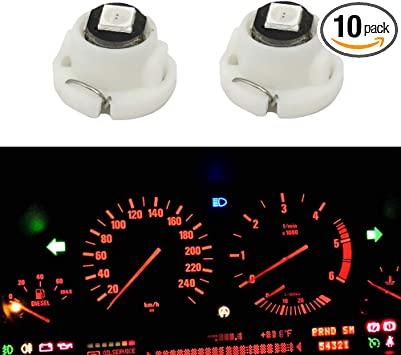 10x T4.7 T5 Blue Neo Wedge LED Bulb Dash Climate Control Instrument Base Light