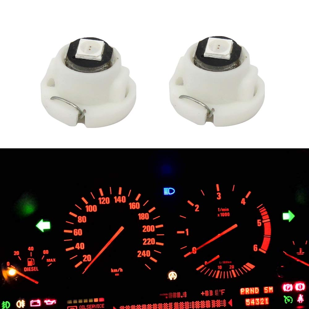 T10 501 W5W Wedge Red Light Car Side Lights Dashboard Dash Cluster Bulb Capless