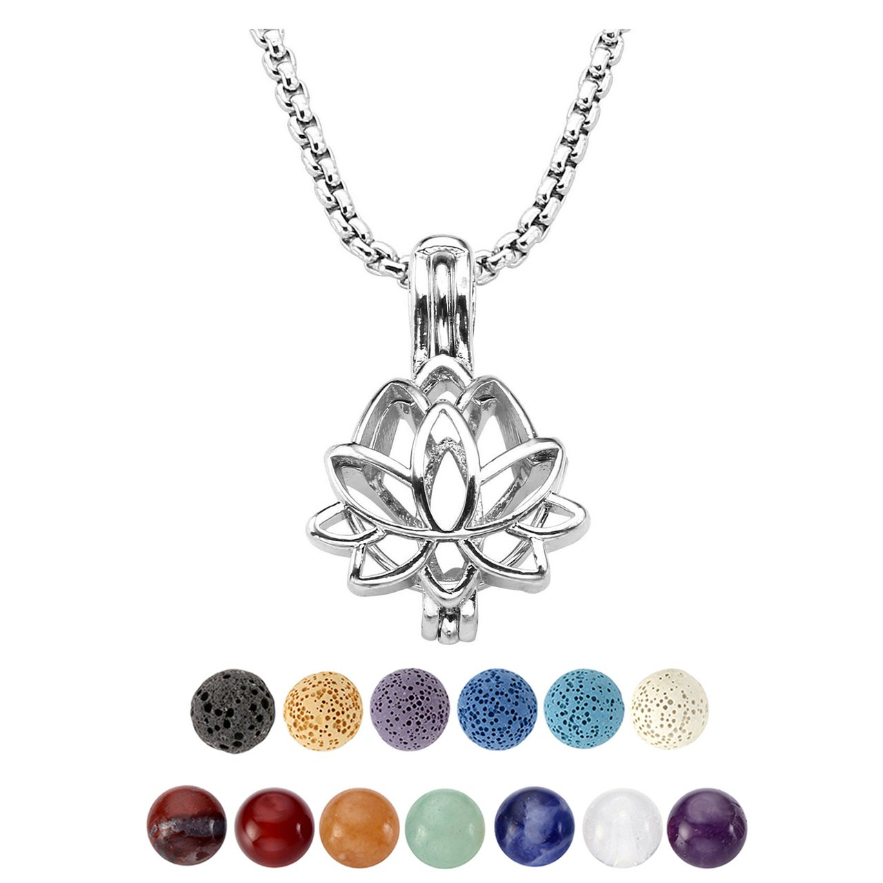 Top Plaza Mini 7 Chakra Reiki Healing Natural Crystal Stone Aromatherapy Lava Rock Stone Essential Oil Diffuser Necklace Hollow Pendant Necklace