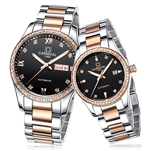 CARNIVAL Couple Watches Men and Women Automatic Mechanical Watch Fashion Chic for Her or His Set of 2 (Rose Gold Black) by Carnival (Image #1)