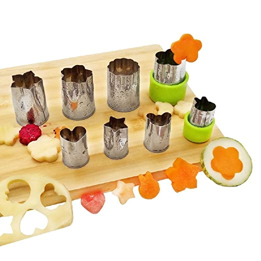 Juego de 8 moldes cortadores Misika de acero inoxidable para cocina, para galletas, verduras, frutas, en verde, naranja, rosa y rojo: Amazon.es: Hogar
