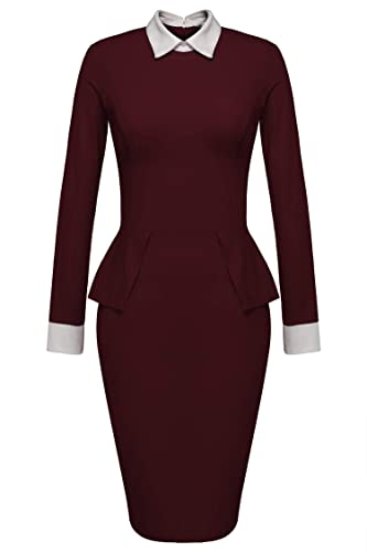 Meaneor Women Party Tunic Sheath Peplum Wear to Work Business Bodycon Dress