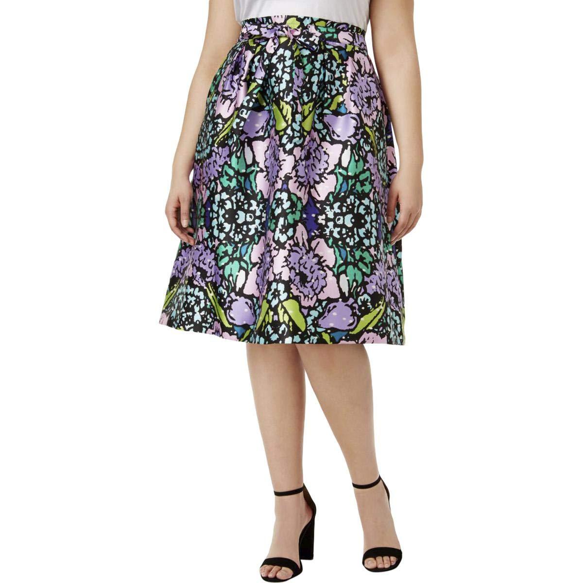 Melissa McCarthy Seven7 Women's Plus Size Tie Front Paper Bag Skirt, Floral Bouquet, 3X