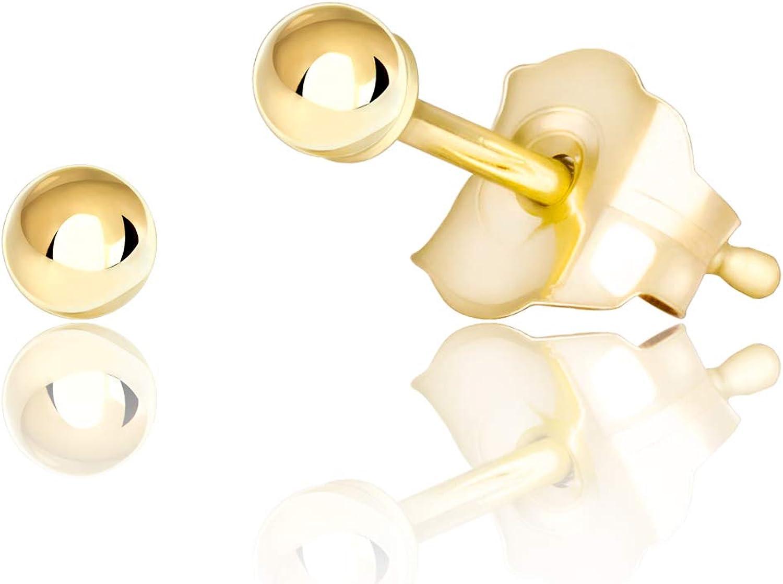 Ball STUD EARRINGS 14K 24K Yellow Gold Plated Men Women Kids Size 2mm 6mm 8mm UK