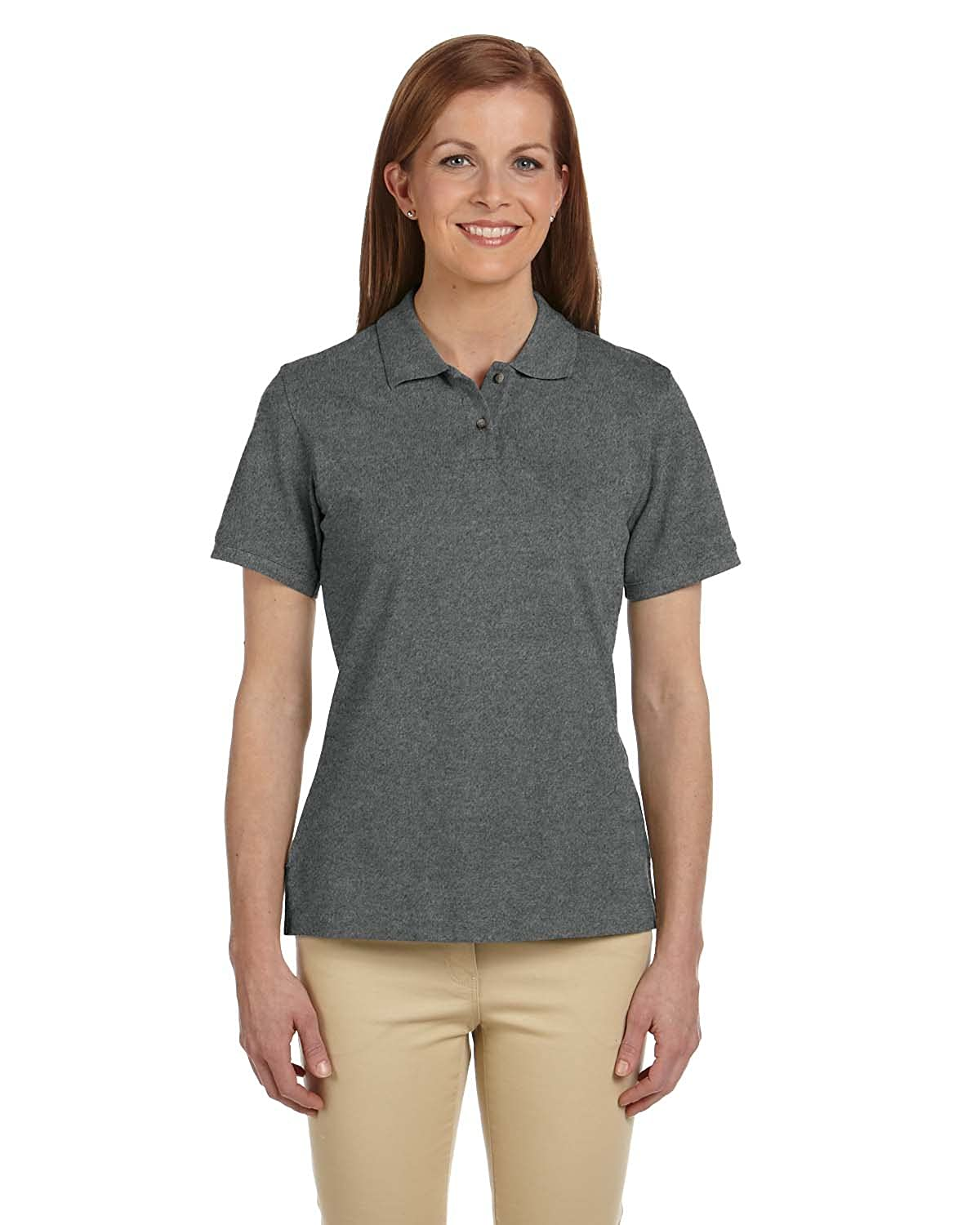 CHARCOAL Ringspun Cotton Piqu? Short-Sleeve Polo Ladies 6 oz M Ladies .