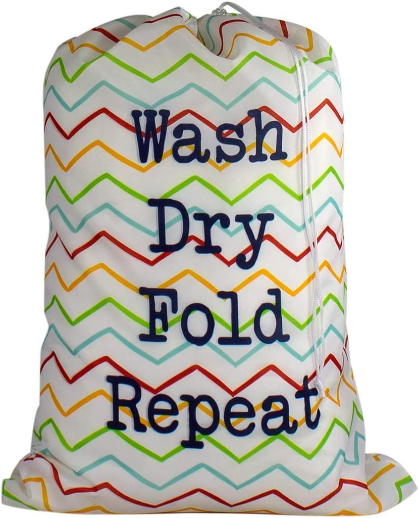 Large Laundry Bag - Store Dirty Clothes at Summer Camp, College Dorm, or Home - 16 Designs Available - 24 x 32 inches (Wash, Dry, Fold, Repeat)