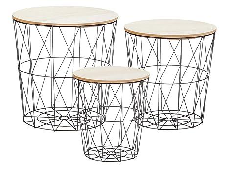 Tavolo Basso Di Design Con Piano Amovibile.Elbmobel De Set Di 3 Tavolini Da Salotto In Metallo Con