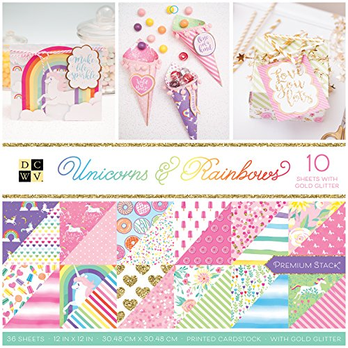 - DCWV PS-005-00634 Unicorns & Rainbows Paper Stack, Multicolor